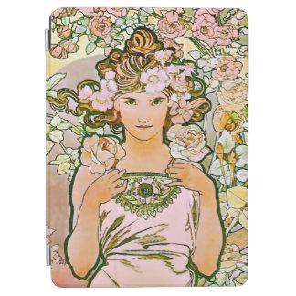 Bella arte color de rosa de Alfonso Mucha del Cover De iPad Air