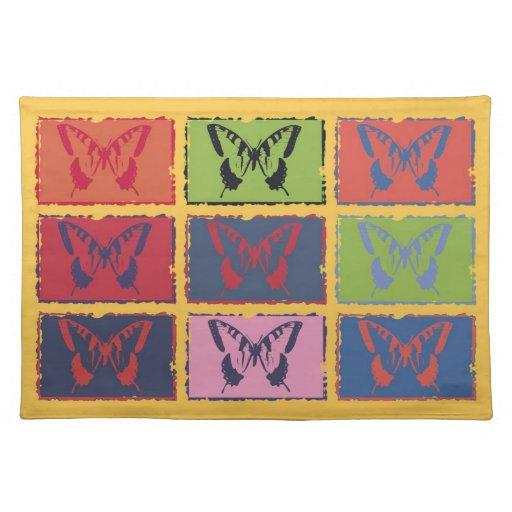 Bella arte colorida 2 de la mariposa del vintage manteles individuales