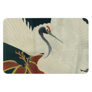 Bella arte coronada rojo japonés del vintage de la imán rectangular