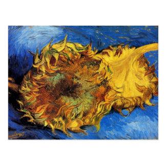 Bella arte cortada de Van Gogh de dos girasoles Postales