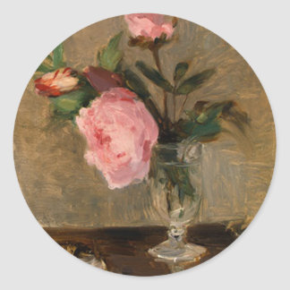 Bella arte de Berthe Morisot de los Peonies Pegatina Redonda