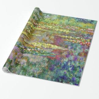 Bella arte de Claude Monet de la charca del lirio Papel De Regalo