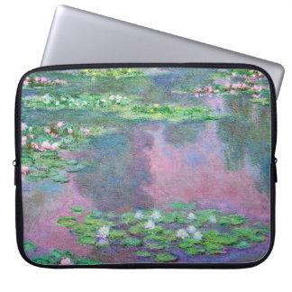Bella arte de Claude Monet de los lirios de agua Fundas Computadoras