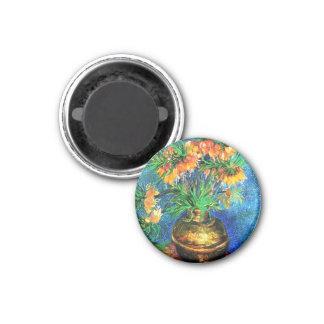 Bella arte de cobre del florero de los Fritillarie Imán De Nevera