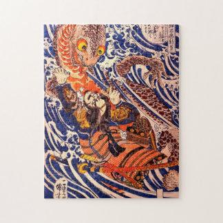 Bella arte de Kuniyoshi del samurai y del Puzzles