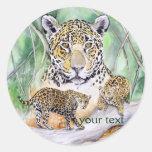 Bella arte de la acuarela de Jaguar de la selva Pegatinas