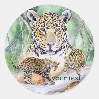 Bella arte de la acuarela de Jaguar de la selva Pegatina Redonda