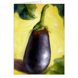 Bella arte de la berenjena de la pintura al óleo felicitaciones