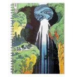 Bella arte de la cascada de Hokusai Amida Libretas Espirales