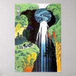 Bella arte de la cascada de Hokusai Amida Posters