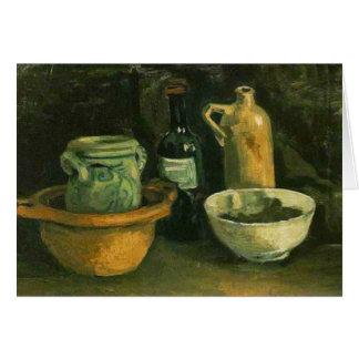 Bella arte de la cerámica de Van Gogh y de dos bot Tarjetón