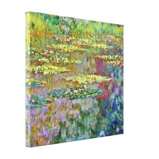 Bella arte de la charca del lirio de agua impresión en tela