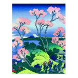 Bella arte de la flor de cerezo de la colina de Go Postales