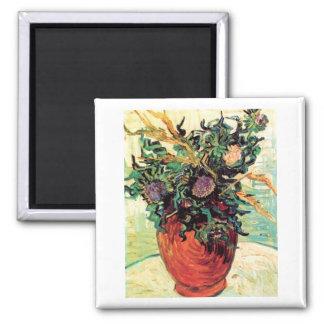 Bella arte de la flor y de Van Gogh de los cardos Imán Cuadrado
