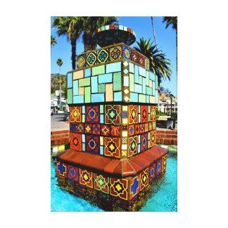 """Bella arte de la """"fuente"""" de la isla de Catalina p Lona Envuelta Para Galerías"""