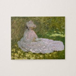 Bella arte de la lectura de la mujer de Monet Puzzle
