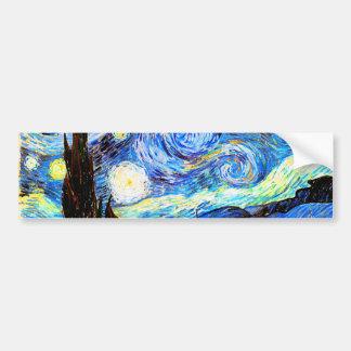 Bella arte de la noche estrellada de Van Gogh Pegatina Para Auto