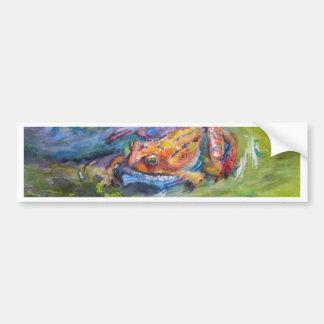 Bella arte de la rana del arco iris colorida en ag pegatina de parachoque