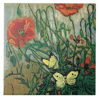 Bella arte de las amapolas y de las mariposas de azulejo cuadrado grande