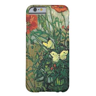 Bella arte de las amapolas y de las mariposas de funda de iPhone 6 slim