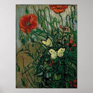Bella arte de las amapolas y de las mariposas de póster