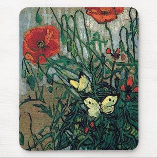 Bella arte de las amapolas y de las mariposas de alfombrilla de ratón