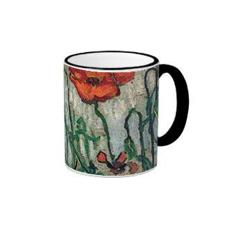 Bella arte de las amapolas y de las mariposas de taza a dos colores