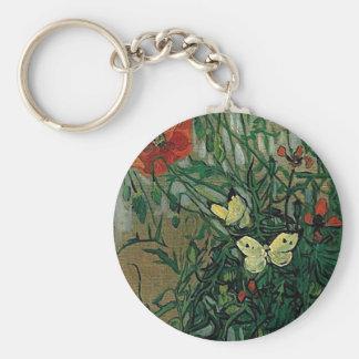 Bella arte de las amapolas y de las mariposas de V Llaveros Personalizados