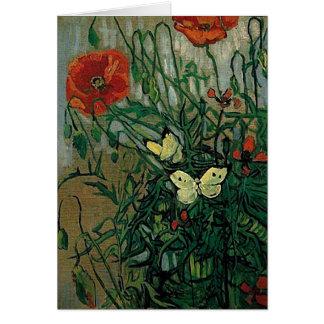 Bella arte de las amapolas y de las mariposas de V Tarjeton