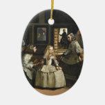 Bella arte de Las Meninas Diego Velázquez Adorno Navideño Ovalado De Cerámica