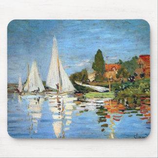 Bella arte de los barcos de Regetta de Monet Mouse Tapete De Ratones