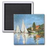Bella arte de los barcos de Regetta de Monet Print Imanes