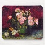 Bella arte de los Peonies y de los rosas del cuenc Tapete De Raton