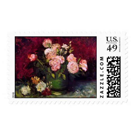 Bella arte de los Peonies y de los rosas del Sellos