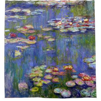 Bella arte de Monet de la charca del lirio de agua Cortina De Baño
