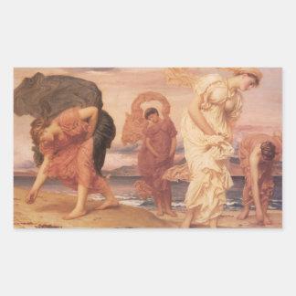 Bella arte de mujeres por el océano pegatina rectangular