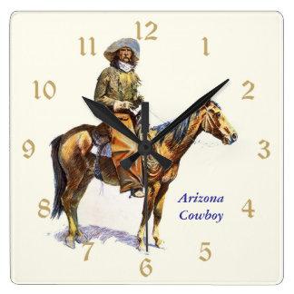 Bella arte de Remington del vaquero de Arizona Reloj Cuadrado