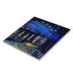 Bella arte de Rhone de la noche estrellada de Van  Tejas Cerámicas