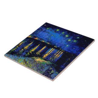 Bella arte de Rhone de la noche estrellada de Van Azulejo Cuadrado Grande