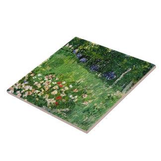 Bella arte de Van Gogh del jardín de Daubigny Azulejo Cuadrado Grande