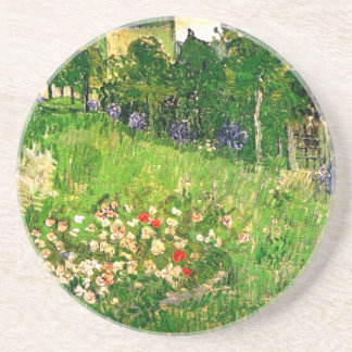 Bella arte de Van Gogh del jardín de Daubigny Posavasos Cerveza