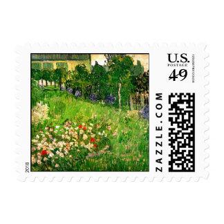 Bella arte de Van Gogh del jardín de Daubigny Sello Postal