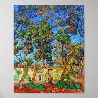 Bella arte de Van Gogh del jardín del hospital de Póster