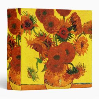 """Bella arte de Van Gogh, florero con 15 girasoles Carpeta 1 1/2"""""""