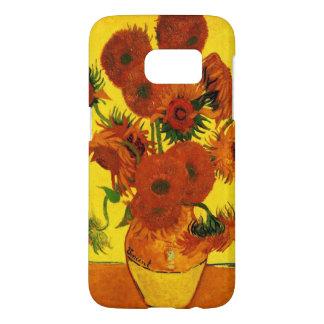 Bella arte de Van Gogh, florero con 15 girasoles Funda Samsung Galaxy S7