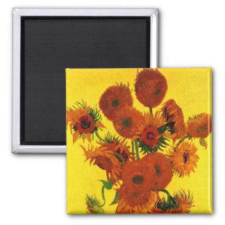 Bella arte de Van Gogh, florero con 15 girasoles Imán Cuadrado