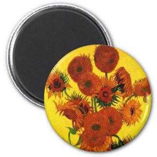 Bella arte de Van Gogh, florero con 15 girasoles Imán Redondo 5 Cm