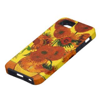 Bella arte de Van Gogh, florero con 15 girasoles iPhone 5 Carcasas