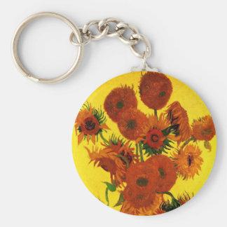 Bella arte de Van Gogh, florero con 15 girasoles Llavero Redondo Tipo Pin
