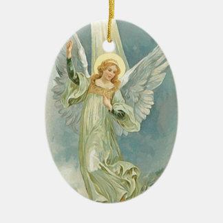 Bella arte del ángel del navidad del vintage adorno ovalado de cerámica